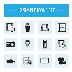 Set Of 12 Editable Cinema Icons. Includes Symbols Such As Coupon, Video Camera, Filmstrip And More. Can Be Used For Web, Mobile, UI And Infographic Design.