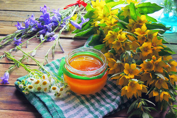 Honey and various herbs