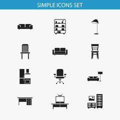 Set Of 12 Editable Furnishings Icons. Includes Symbols Such As Davenport, Illuminant, Cuisine And More. Can Be Used For Web, Mobile, UI And Infographic Design.