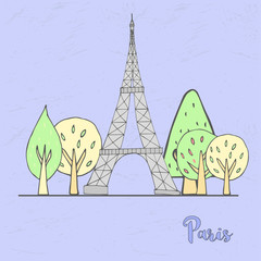 Hand drawn Paris scene, vintage France. Vector urban banner with trees and Eiffel Tower for postcards or web.