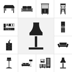 Set Of 12 Editable Furniture Icons. Includes Symbols Such As Divan, Lamp, Canape And More. Can Be Used For Web, Mobile, UI And Infographic Design.