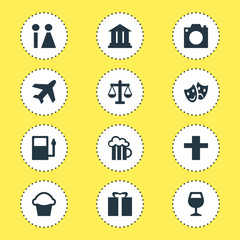 Vector Illustration Of 12 Check-In Icons. Editable Pack Of Aircraft, Cake, University And Other Elements.