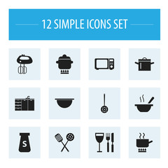 Set Of 12 Editable Cook Icons. Includes Symbols Such As Cooking Pot, Strainer, Cuisine Tools And More. Can Be Used For Web, Mobile, UI And Infographic Design.
