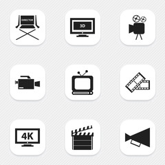 Set Of 9 Editable Movie Icons. Includes Symbols Such As Broadcast, Ultra Display, Video Camera And More. Can Be Used For Web, Mobile, UI And Infographic Design.