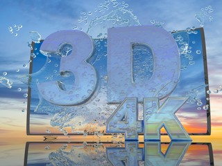 Splash of water from the TV screen on a background of a sunset landscape, with symbols 3D and 4K, 3d render