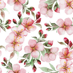 pattern of watercolor sakura flowers