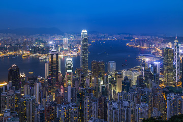 Modern city at night, Hong Kong, China.