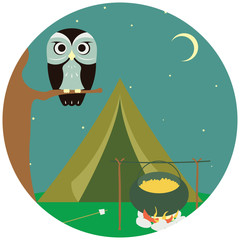 Camping wooden with tent and owl. Vector illustration