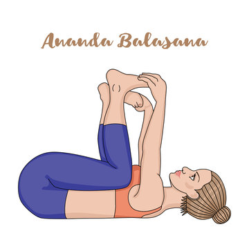 Women silhouette. Happy baby, dead bug yoga pose. Ananda Balasana