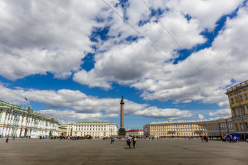 Panoramic view of Palace Square in St Petersburg in sunny day