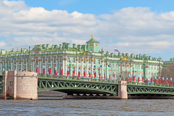 The Palace bridge and the Winter Palace in St. Petersburg may day