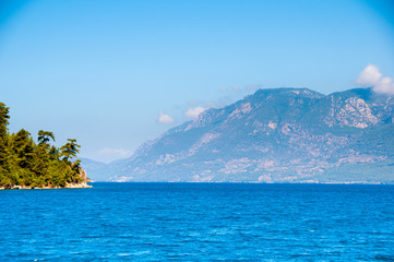 Landscape of the Mediterranean Sea. Mountains and the sea of Turkey.