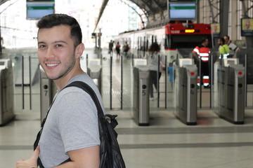 Joyful public transportation passenger with copy space