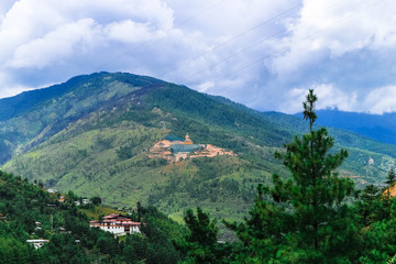 View of the Giant Buddha Dordenma statue from the city of Thimphu, Bhutan
