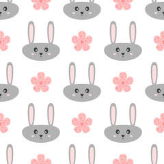 Head funny gray rabbit and pink flowers. Cartoon seamless pattern for children.