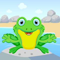 Cute frog sitting on a rock and smiling.
