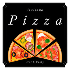 Vector logo illustration for pizzeria menu sliced triangle whole hot pizza.Pizza on the wood board the ingredients for the pizzeria on the chalkboard Italian flag on background pizzas in cardboard box