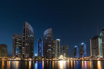 dubai marina modern building at night time