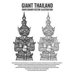 Giant of Thailand. Giant Elements Design. Thailand Travel Hand Drawn vector Illustration.