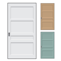 Set of modern colored doors isolated on white. Closed elegant doors isolated, decoration- Vector Illustration.