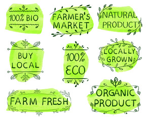 100 bio, eco, buy local, farmer's market, natural product, locally grown, farm fresh, organic product. Set of hand drawn VECTOR icons on dark green watercolor spots