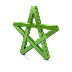 3d illustration of green pentagram