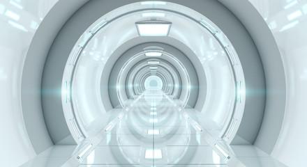 Fototapete - Bright futuristic spaceship corridor 3D rendering