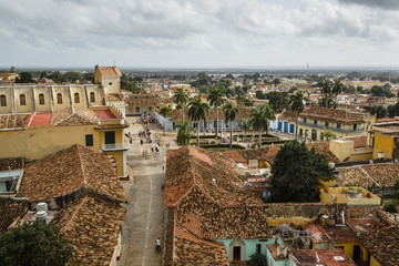 Elevated view over Plaza Mayor and the colonial city of Trinidad, Sancti Sp'ritus province, Cuba.