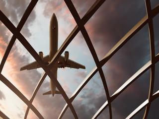 Flugzeug über Flughafengebäude