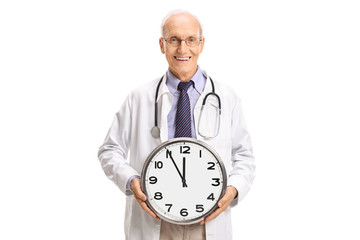 Doctor holding a wall clock