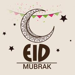 Eid Mubarak beautiful greeting card.