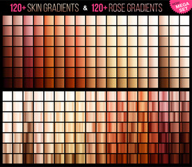 Vector mega set of Rose and skin gradient. Mega collection skin and rose gradient for fashion and beauty design. Vector illustration.
