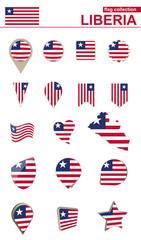 Liberia Flag Collection. Big set for design.