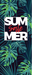 Dark tropical background with jungle plants. Floral vector sale design with green sabal palm and monstera leaves.