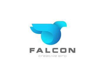 Blue Bird abstract Logo geometric vector Falcon Eagle icon