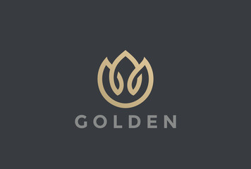 Wall Mural - Gold Flower abstract Logo vector Linear Fashion Jewelry icon