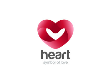 Heart ribbon Logo vector. Love Cardiology icon. Valentines Day