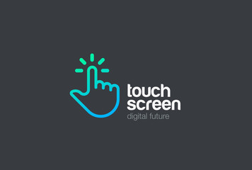 Hand Finger Touch screen Logo vector Linear. Mobile Touchscreen