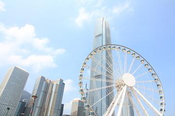 Ferris Wheel and Skyscrapers in Hong Kong