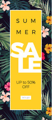Floral vector sale design with hibiscus flowers and exotic palm leaves on dark background.