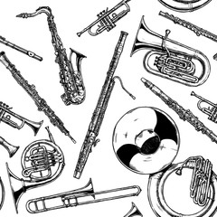 Seamless pattern with woodwind and brass musical instrument