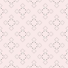 Subtle dotted seamless pattern, delicate vector texture in trendy pastel colors, soft pink & gray. Abstract repeat background with tiny circles in square form. Elegant design element for decor, prints