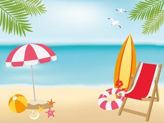 砂浜とビーチグッズ