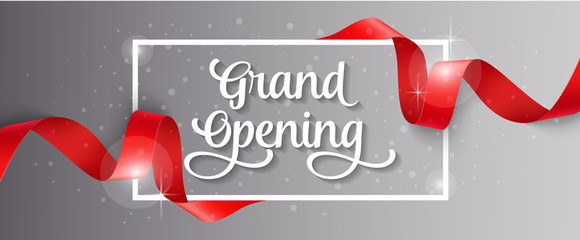 Grand Opening Lettering, Frame and Ribbon Wall mural