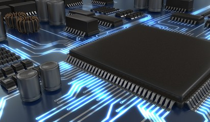 3D rendered illustration of processor or microchip. Technology concept.