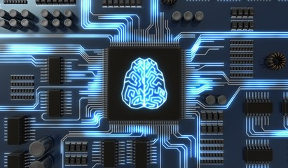 3D rendered illustration of artificial intelligence electronic circuit. Microchip with glowing brain.