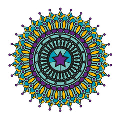 Vector illustration of a colored mandala on white, mandala vettoriale colorato su sfondo bianco