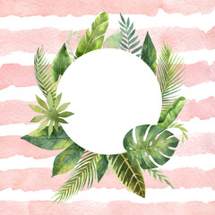 Watercolor round frame tropical leaves and branches on the background of stripes.