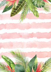 Watercolor card tropical leaves and branches on the background of stripes.