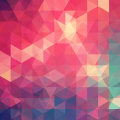 Geometric pattern, triangles vector background in red, pink, green, blue ' tones. Illustration pattern